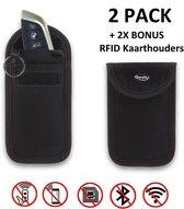 Anti-Diefstal Autosleutel Hoesje (2 PACK) + 2X RFID kaarthouders - Signaal Blokkerende Beschermhoes - Keyless Entry Go Sleutel Etui - Qwality4u