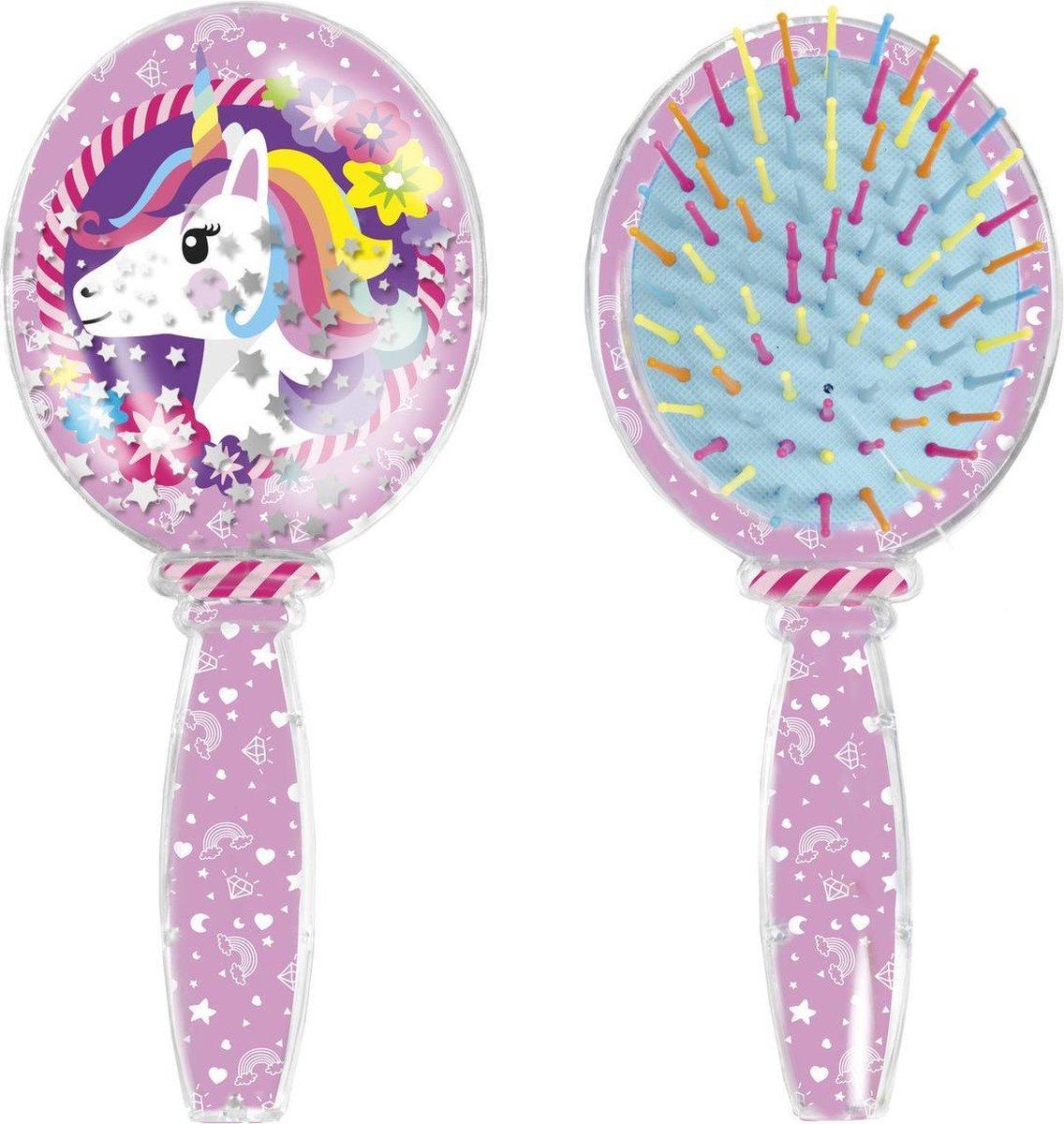 Unicorn Haarborstel met bewegende glitter - kinderhaarsborstel eenhoornthema