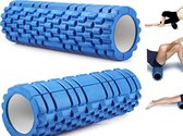 Fitness Foam Roller - Yoga Workout Roll - Pilates / Body Rug Massage Rol The Grid Roller - 34CM Blauw