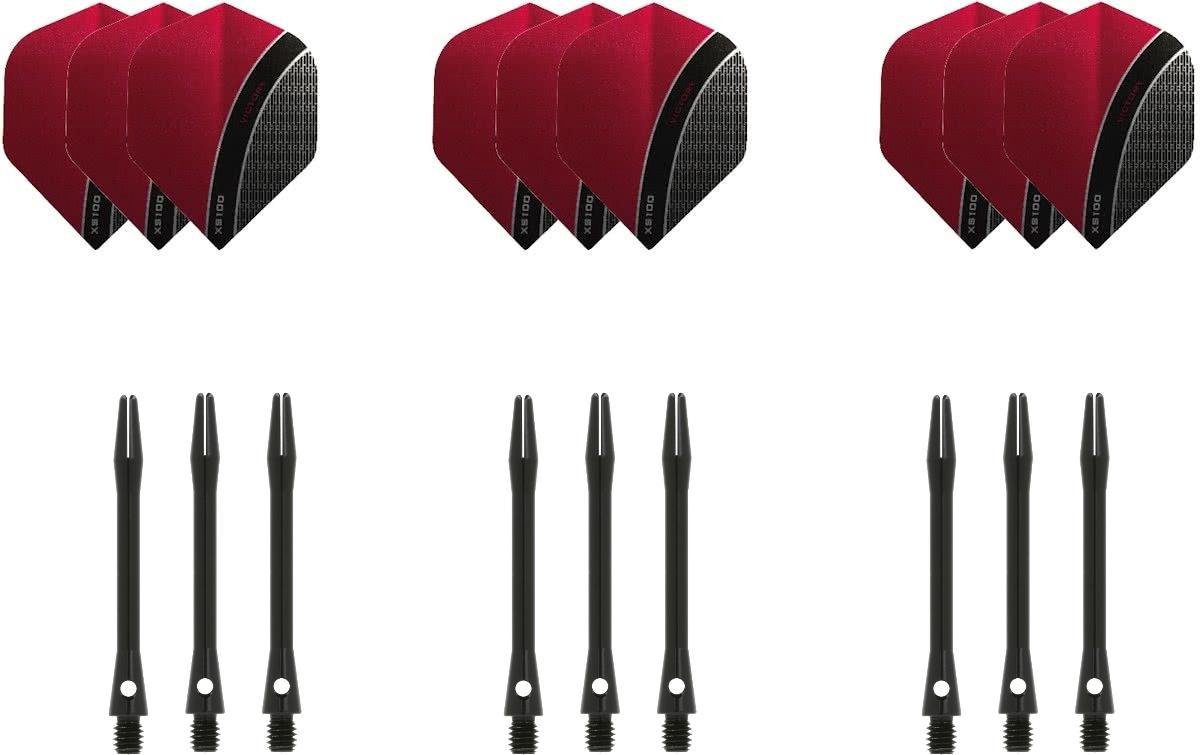 Dragon darts - 3 sets - XS100 Curve - Rood - Darts flights - plus 3 sets - aluminium - darts shafts - zwart - medium
