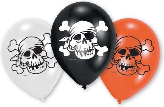 Amscan Ballonnen Jolly Roger 23 Cm Grijs/zwart/oranje 6 Stuks