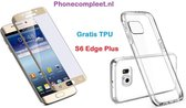 Tempered Glass Screenprotector voor Samsung Galaxy S6 Edge Plus 360° Protection Goud + gratis ultra dun transparant  / Silicone hoesje