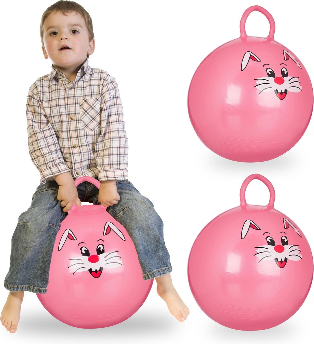 relaxdays 3 x skippybal in set - voor kinderen - Met konijn opdruk - springbal - roze