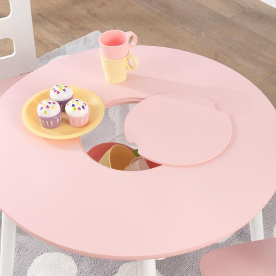 KidKraft Set met ronde opbergtafel en 2 stoelen roze en wit