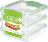 Sistema Fresh voorraaddoos - set van 3 sandwich lunchboxen groen - 450ml