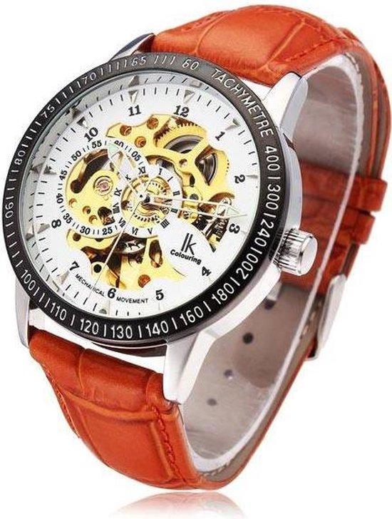 IK watch Skeleton Automaat Horloge Black case White dial Black leather - IK watch