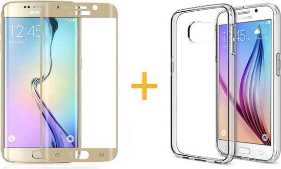 Samsung Galaxy S6 Edge - Siliconen Transparant TPU Gel Case Cover + Met Gratis Tempered Glass Screenprotector Goud / Gold 3D 9H (Gehard Glas) - 360 graden protectie