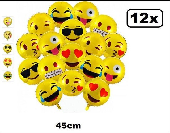 12x Folieballon Emoticons 45cm - folie ballon helium of lucht emo fun party carnaval telefoon smiley hart smile