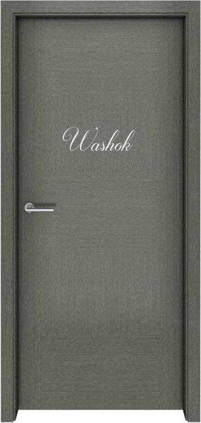 Deursticker - Washok - 17x6 - Wit
