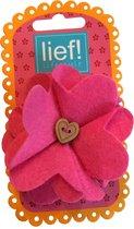 Grote bloem haarelastiek Vilt Roze - Lief Lifestyle