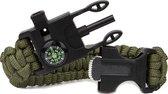 Travelsky Survival Bracelet - Paracord Armband – Survivalarmband – met Kompas – Olijf Groen