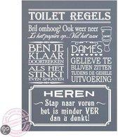 Tekstbord toiletregels grijs wit 19 x 30 cm