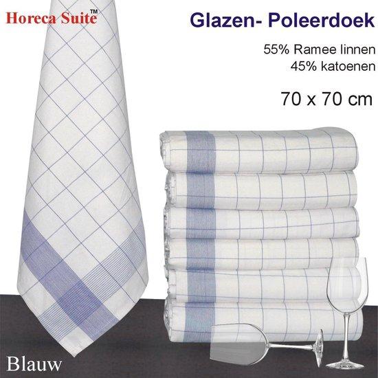 Homéé® Glazendoek - Poleerdoeken blauw ruiten 70x70cm - set van 6 stuks - 50% Ramee 50% katoen
