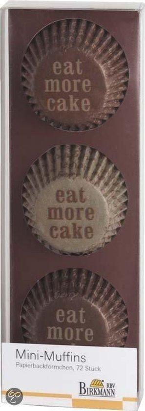 Birkmann Papieren Muffinvormpjes 'Eat More Cake' Ø 4,5 cm - 72 Stuks - Koffie