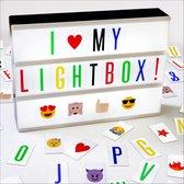 Hillvik Lightbox LED A4 - incl. Adapter - 80 Zwarte en 80 Gekleurde Letters en Symbolen - 25 Emoji's