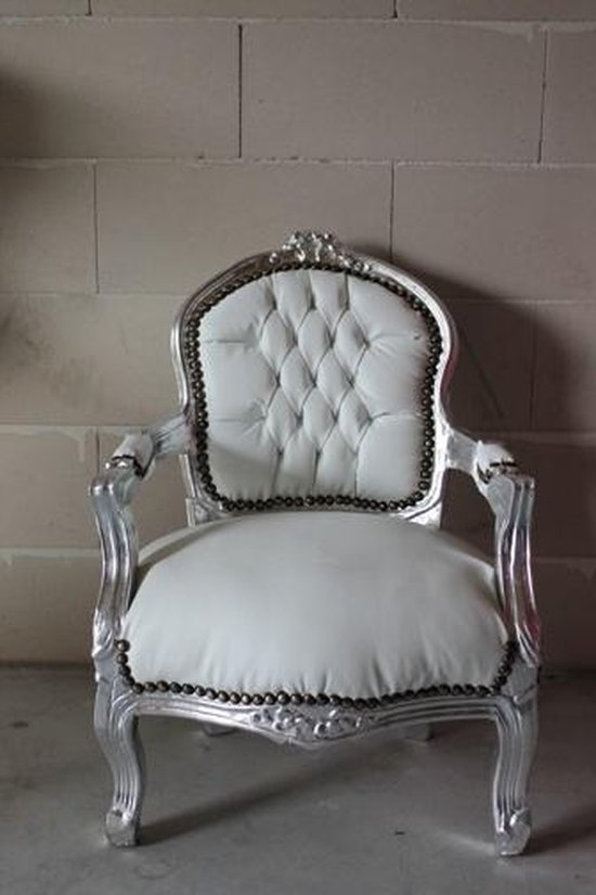 Barok Stoelen Zilver Zwart.Bol Com Barok Kinderstoel Zilver Wit Skai