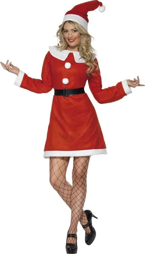 Kerstvrouw Miss Santa - Kostuum - Maat M - Rood