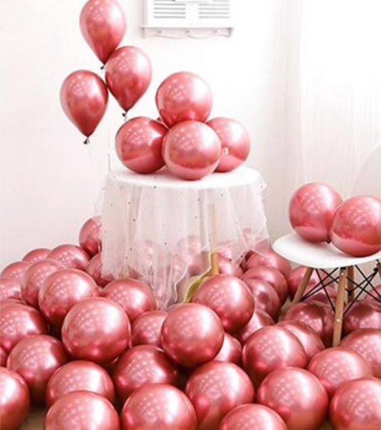Luxe Chrome Ballonnen Roze 10 Stuks - Helium Chrome Metallic Ballonnenset Feestje Verjaardag Party