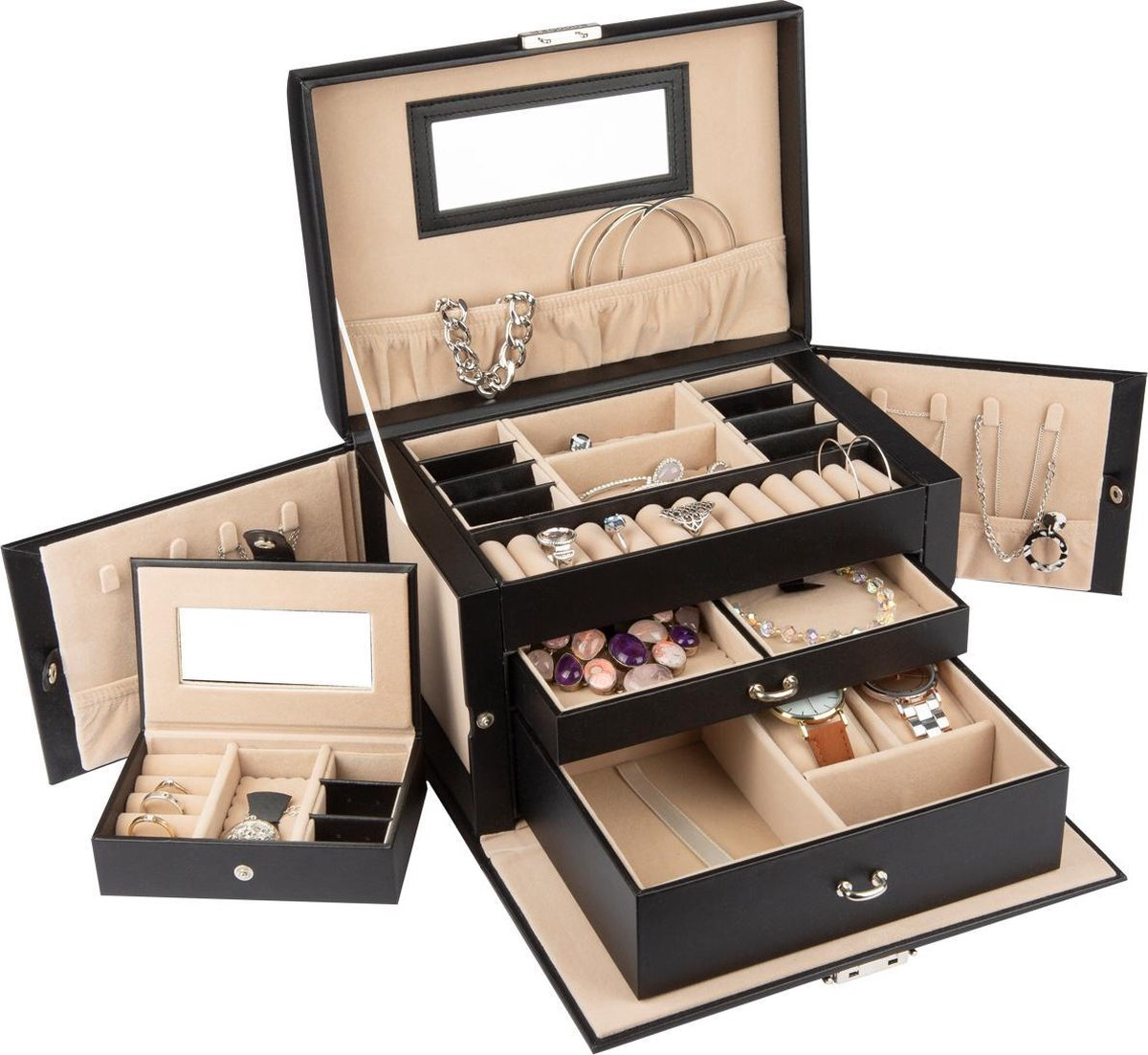 LifeGoods XL Sieraden Doos Met Spiegel - Luxe Bijouterie Kistje - Juwelen Box Met Houder - 20 Vakken