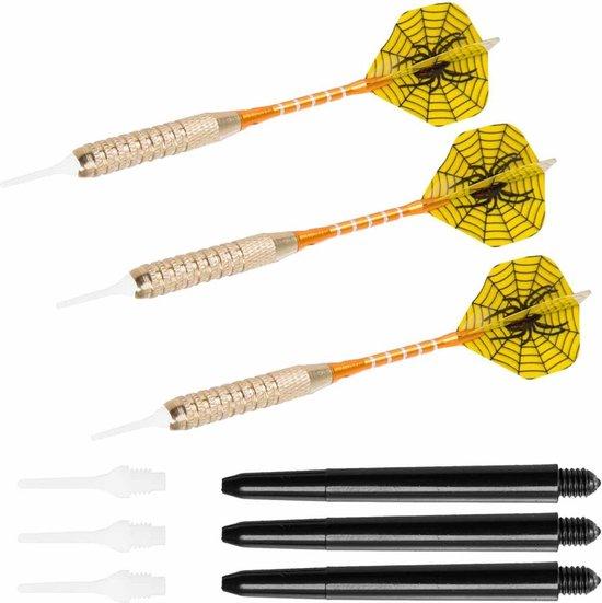 Thumbnail van een extra afbeelding van het spel #DoYourDart - 3x Soft Dartpijlen - YellowSpider - incl. case voor opslag +6x PET Dart flights - perfecte grip, ijzeren barrel | Aluminium shaft gewicht dart: 17.7g - goudkleurig