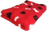 Topmast Vetbed Hondendeken benchmat hondenkleed  Rood Zwarte Pootjes Witte Botjes Latex Anti-Slip 150x100cm Machinewasbaar