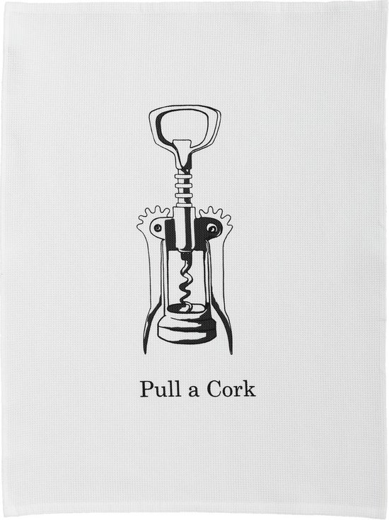 DDDDD Theedoek Pull a cork White (6 stuks)