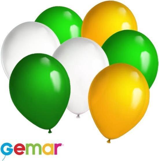 30x Ballonnen Groen, Wit en Oranje (Ook geschikt voor Helium)