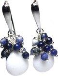 Oorbellen Blue Jeans – Lapis Lazuli, facet geslepen Sodaliet en witte Jade