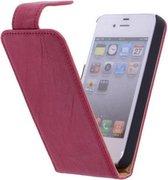 Polar Echt Lederen Apple iPhone 4/4s Flipcase Hoesje Fuchsia - Cover Flip Case Hoes