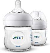 Philips Avent Natural babyfles – SCF030/27 babyfles (0m+) voor langzame toevoer – 2 stuks
