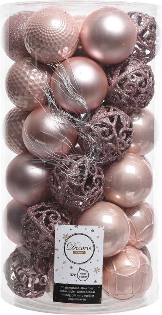 Kerstballen Kunststof Mix 37 stuks poederroze - Bellatio Decorations