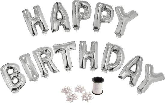 Folie ballonset zilver met letters HAPPY BIRTHDAY 41 cm + geschenklint 10m met 4 witte strikken