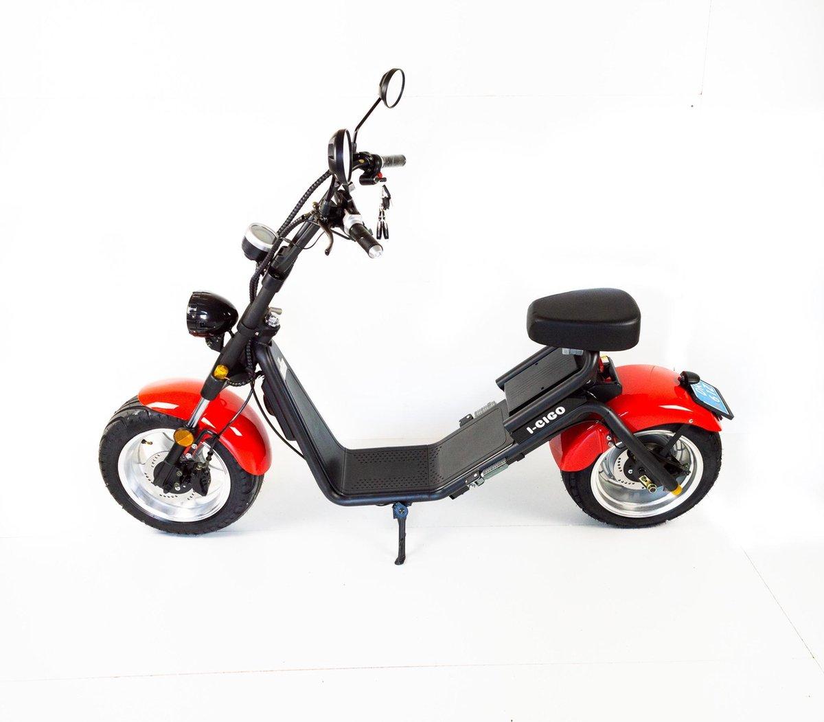 Stadscooter Citycoco,City coco Rood met blauw kenteken( E-Scooter ebike 100% Elektrische scooter Coo