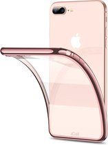 iPhone 7 Plus / 8 Plus Hoesje - Transparant Siliconen Case met Roséoud Bumper - iCall