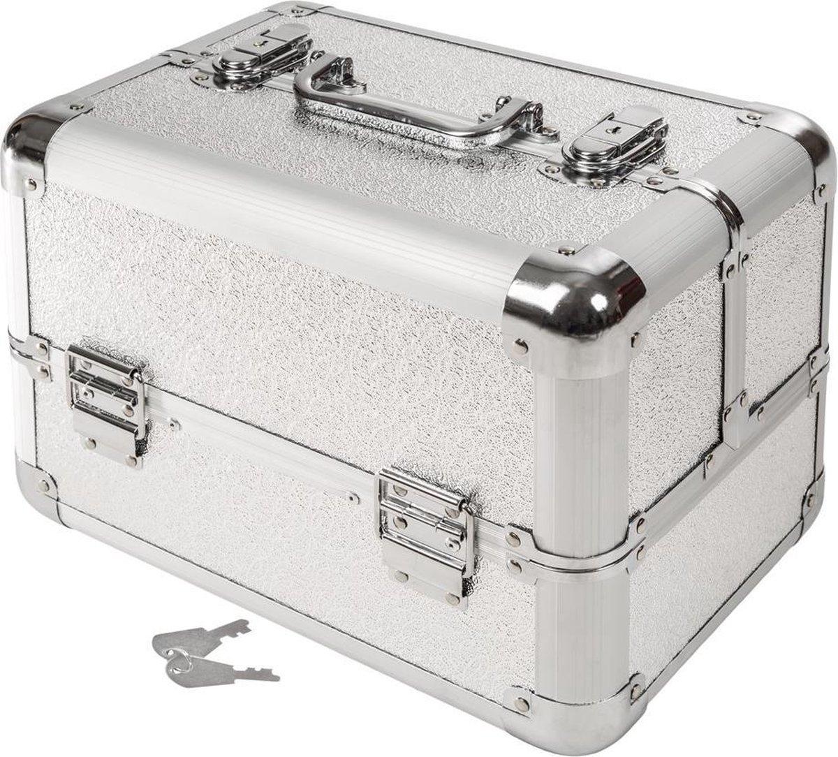 Tectake - Beautycase - Afsluitbaar - Zilver