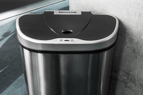 Homra QUBIX Sensorprullenbak - Afvalscheiding prullenbak met sensor - 3 vakken - 68 liter inhoud (22 + 22 + 24 L)- RVS - Trio afvalemmer - Soft close deksel