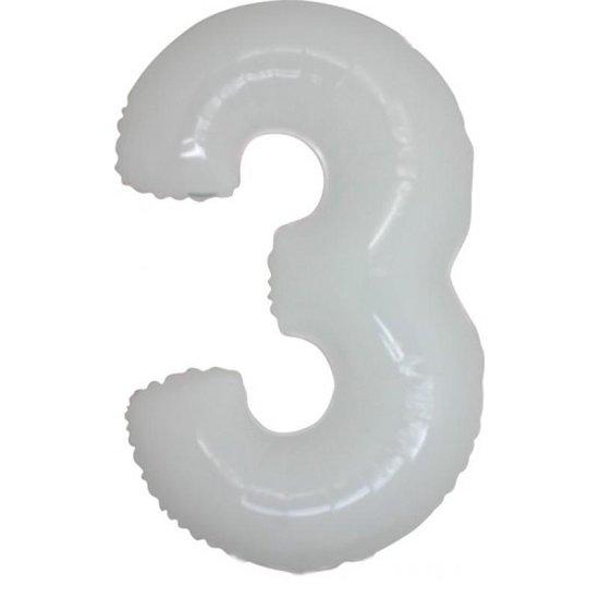 Folieballon MAXI ( 40inch) Cijfer - 3 - Wit
