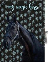 Afbeelding van Animal Pictures Zwart Paard  - Dagboek - 15 x 20 cm - Inclusief slotje