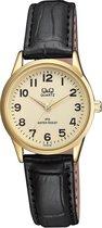 Q&Q klassieke dames horloge met goudkleurige wijzerplaat en zwarte leren band C215J103Y