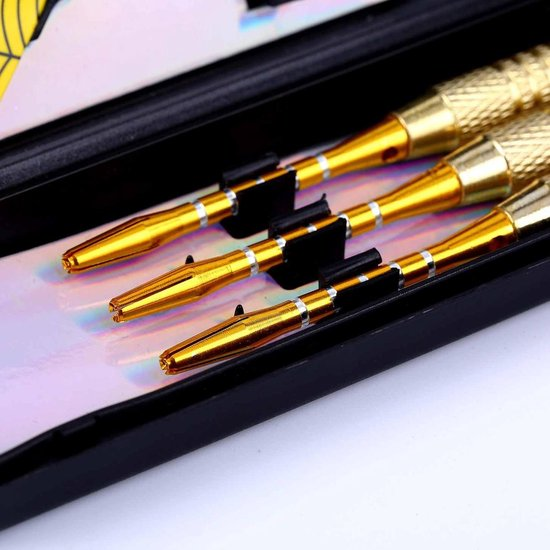 Thumbnail van een extra afbeelding van het spel #DoYourDart - 3x Softtip dartpijlen - ijzeren barrel - aluminium shafts, 6x extra flights incl. Dartetui - 17,7g totaal gewicht pijlen - goudkleurig