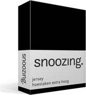 Snoozing Jersey - Hoeslaken Extra Hoog - 100% gebreide katoen - 180x200 cm - Zwart