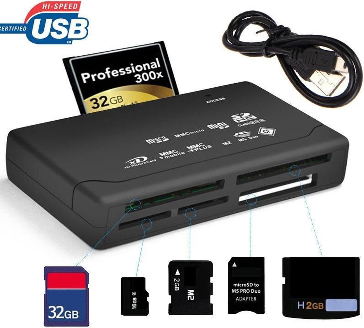 Goodlux Geheugenkaartlezer - All in one kaartlezer - Memorycard reader - CF/TF/MS/M2 - (Micro) SD ka