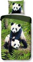 Snoozing Pandas - Flanel - Dekbedovertrek - Eenpersoons - 140x200/220 cm + 1 kussensloop 60x70 cm - Multi kleur