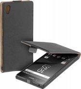Zwart eco leather flipcase voor Sony Xperia Z5 Premium Telefoonhoesje