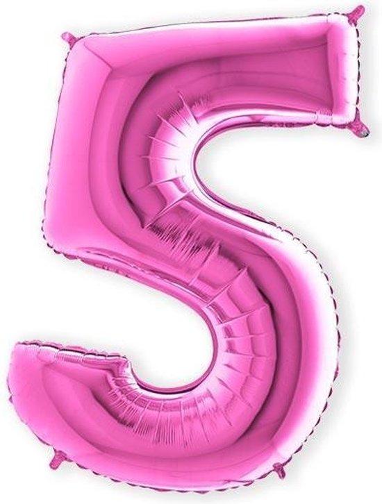 Folieballon cijfer 5 fuchsia (100cm)