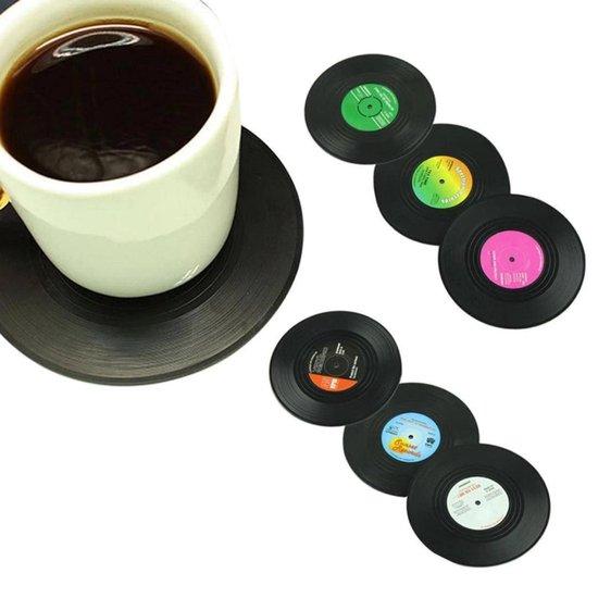 LP Onderzetters - 6 stuks - Vinyl - Retro - Coasters - Onder Zetters - Feest - Vintage - Platen - Rond - Langespeelplaat - Muziekliefhebber - Muziekliefhebbers - LP's - Glazen - Glazenonderzetter - Glazenonderzetters - Drinkenonderzetters - Glas