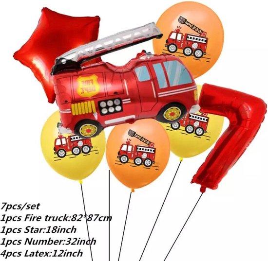 Brandweerwagen Folie Ballon nummer 7 ballonen set 7 delig brandweerwagen