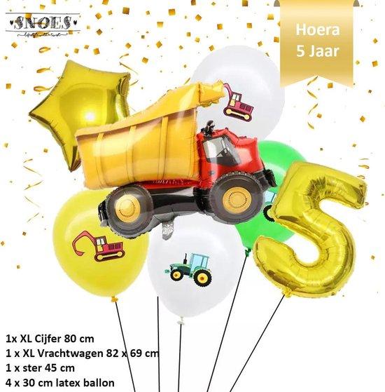Verjaardag Jongen Vrachtwagen - Kiepwagen - Ballonnen Set * Cijfer 5 * Nummer 5 * Hoera 5 jaar * Snoes * Verjaardag * Kinderfeest * Verjaardag Versiering * Thema Vrachtwagen - Kiepwagen - Voertuig * Snoes * Vijfde Verjaardag * Verjaardagsballonnen
