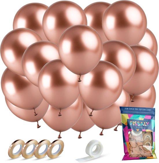 Fissaly® 40 stuks Metallic Rose Goud Helium Latex Ballonnen met Lint Versiering - Feest Decoratie – Chrome Roze & Gouden