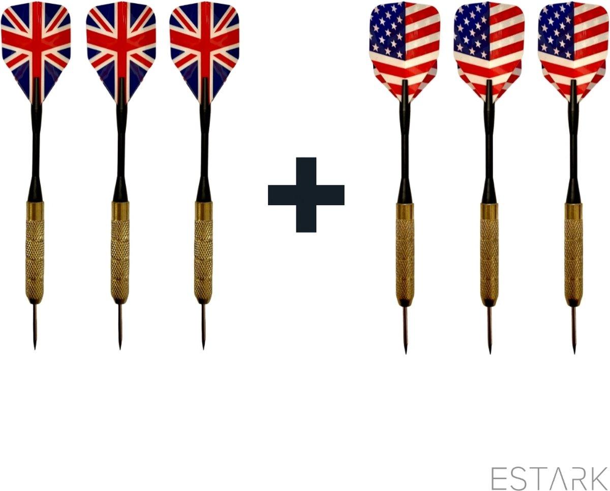 ESTARK - 6 Stevige Complete Dartpijlen - Darts Accessoires - Dartset - Dartpijlen - Darts Pijlen - Darts Flights - Darten - PROFESSIONEEL - 6 Pijlen